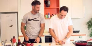 Sam Wood & Wippa making a healthy 'dad bod be gone' lunch
