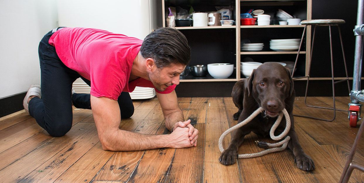 Sam Wood & his dog Henderson getting ready to go for a walk
