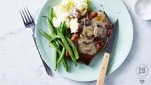 Steak with Peppery Mushroom Sauce - 28bysamwood healthy recipe